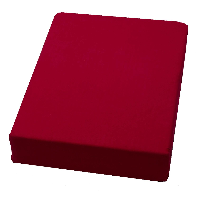domoLine Spannbetttuch Domoline 200x200 cm (BxT) Mischgewebe Rot Modern, domoLine
