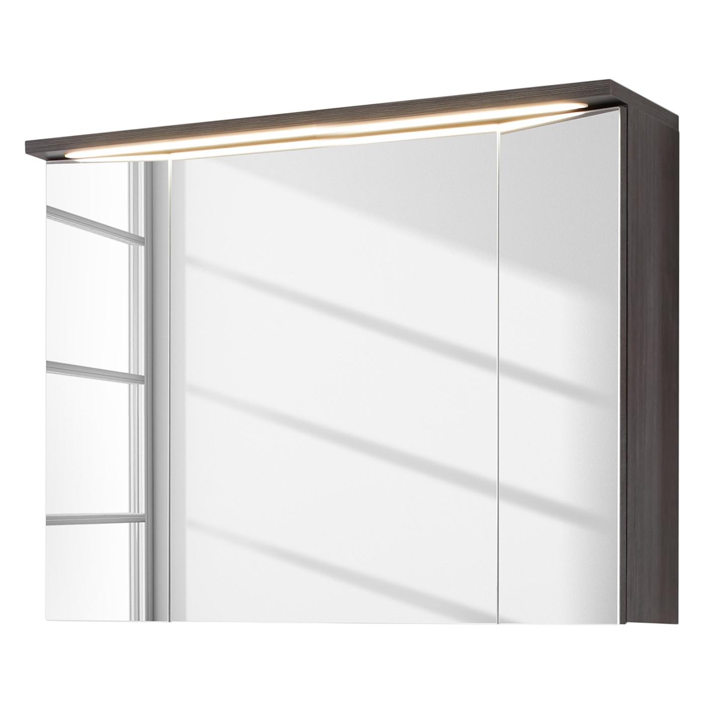 EEK A+, Armoire de toilette Adamo II (avec éclairage) - Imitation chêne argent cendré - 96 cm, Trendteam