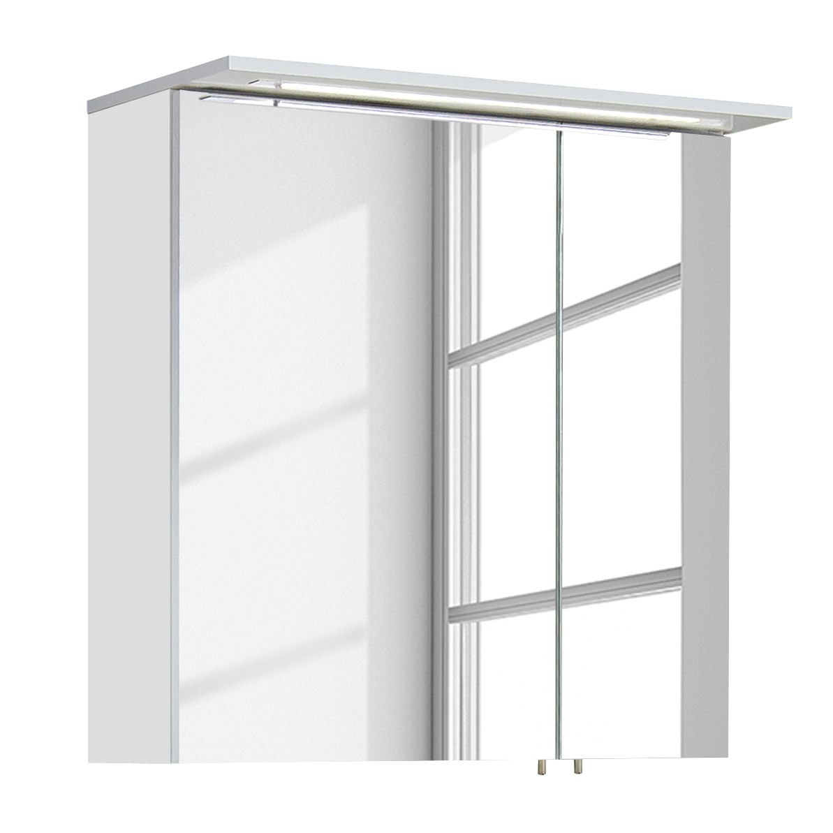EEK A+, Spiegelschrank Genf II (inkl. Beleuchtung) - Hochglanz Weiß, Schildmeyer