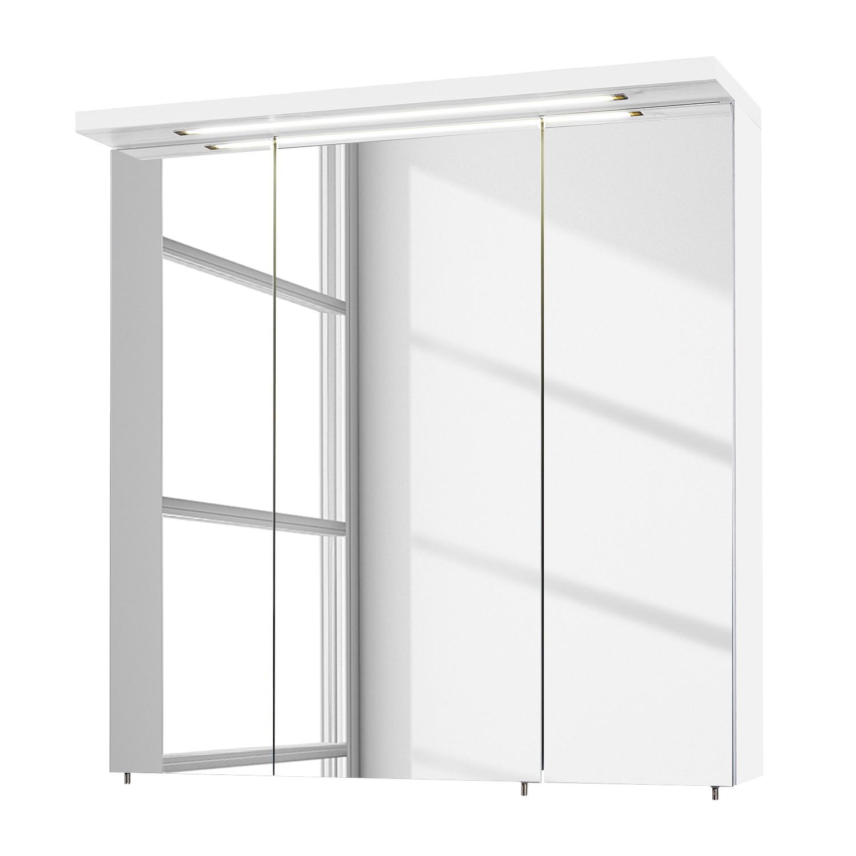 EEK A+, Armoire avec miroir Genf I - Blanc brillant - 70 cm, Schildmeyer