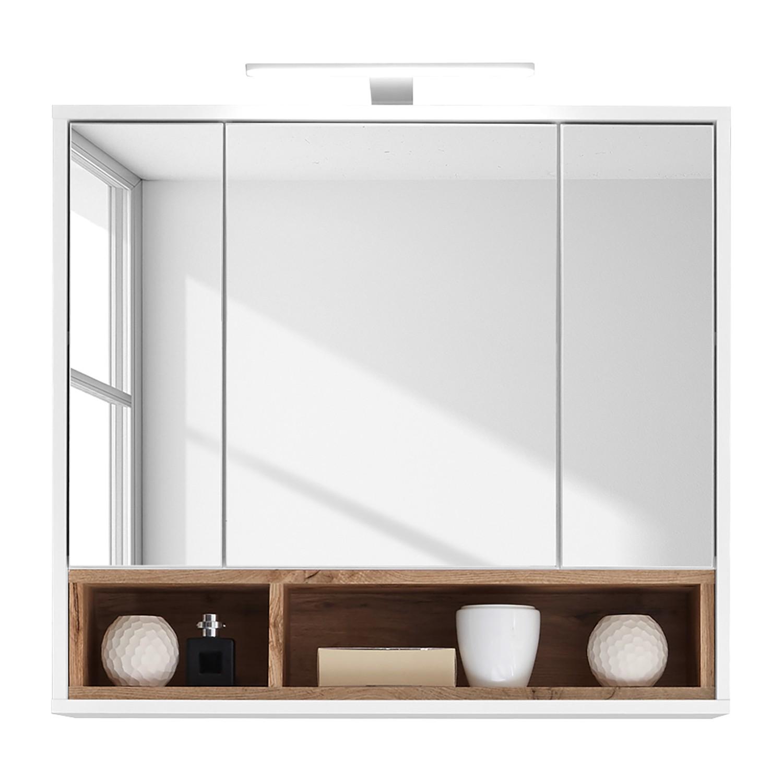 EEK A+, Armoire avec miroir Guardo (avec éclairage) - Blanc / Imitation chêne sauvage, Giessbach