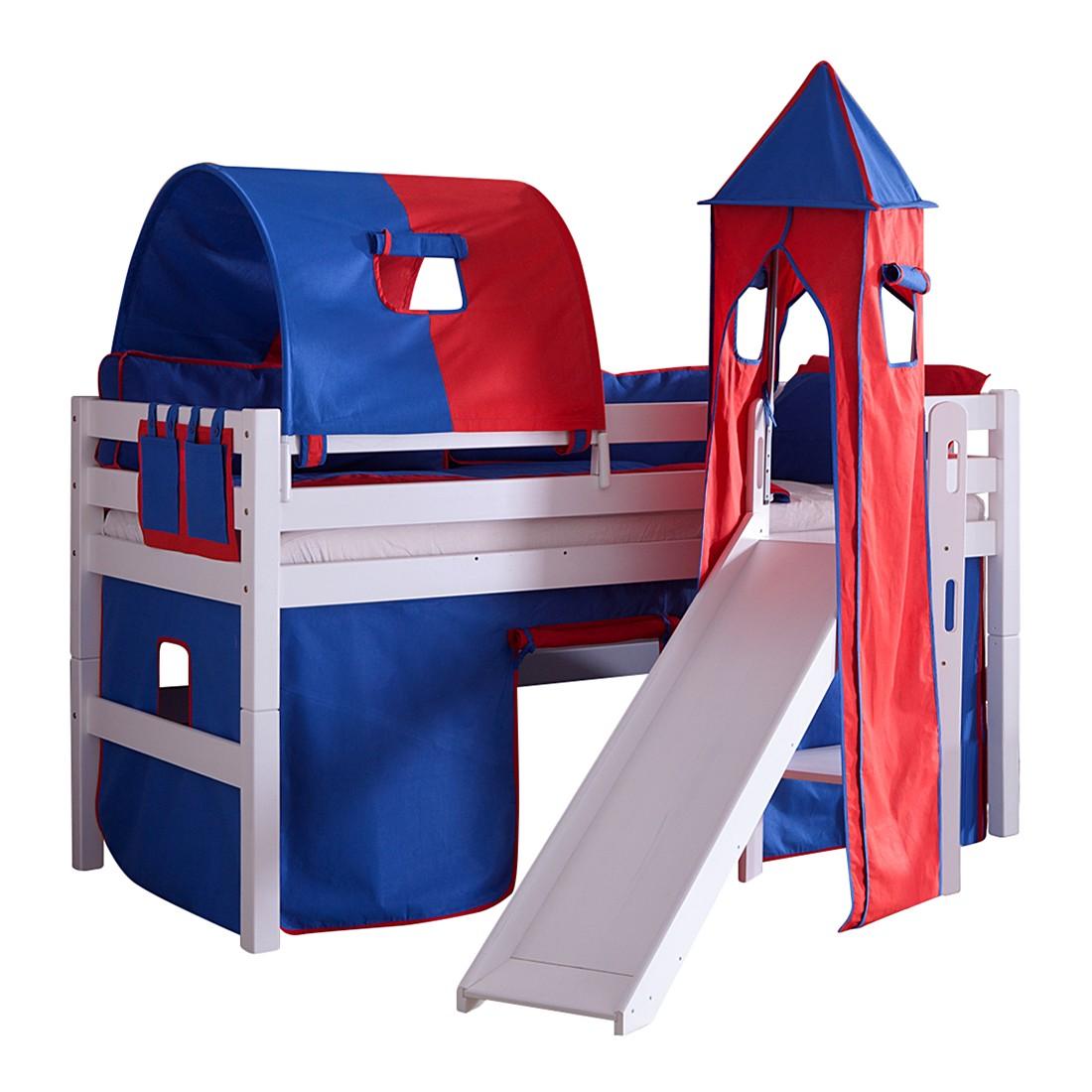 Spielbett Eliyas - mit Rutsche, Vorhang, Tunnel, Turm und Tasche - Buche weiß/Textil blau-rot, Relita