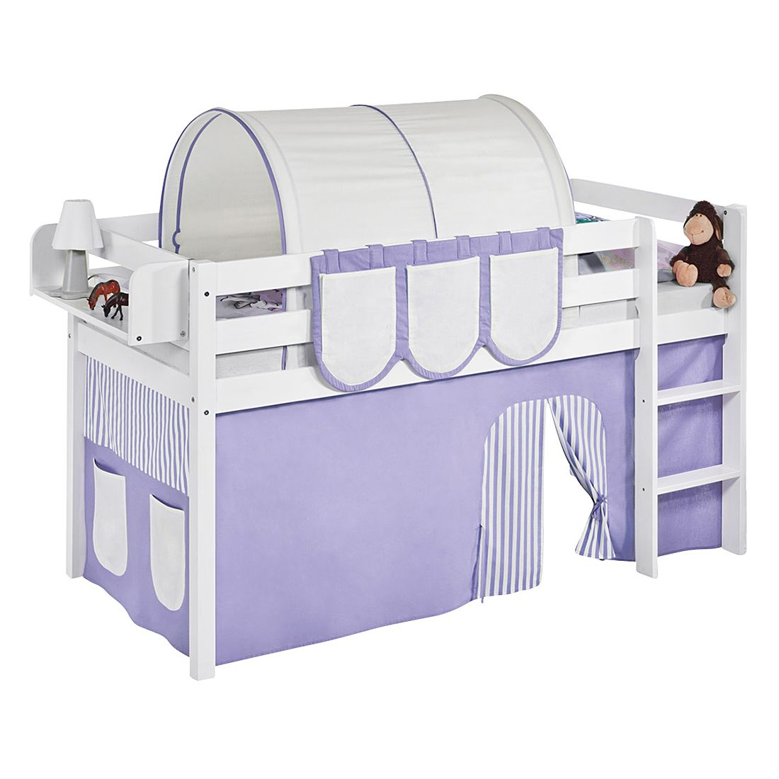 home24 Spielbett JELLE Lila Beige | Kinderzimmer > Kinderbetten > Hochbetten | Weiss | Lilokids