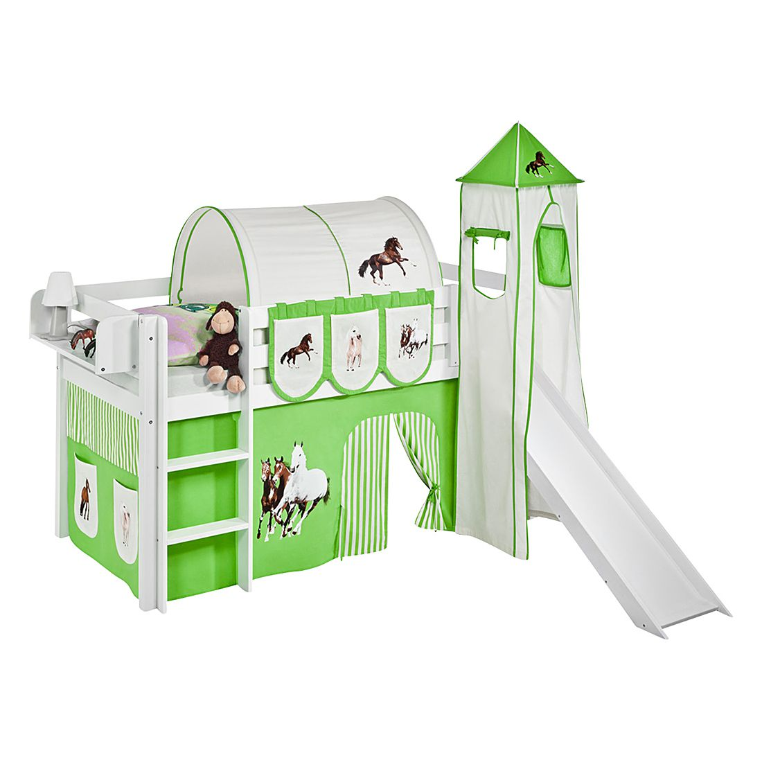 home24 Spielbett JELLE Pferde Gruen | Kinderzimmer > Kinderbetten | Weiss | Massivholz | Lilokids