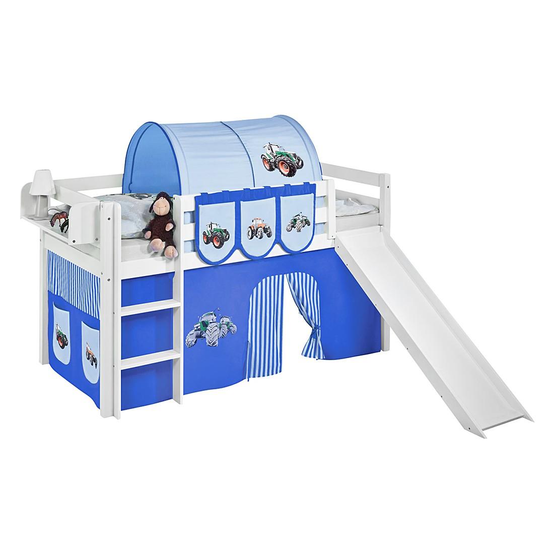 Spielbett JELLE Trecker Blau - Hochbett LILOKIDS - mit Rutsche und Vorhang - weiß - 90 x 190 cm, Lilokids
