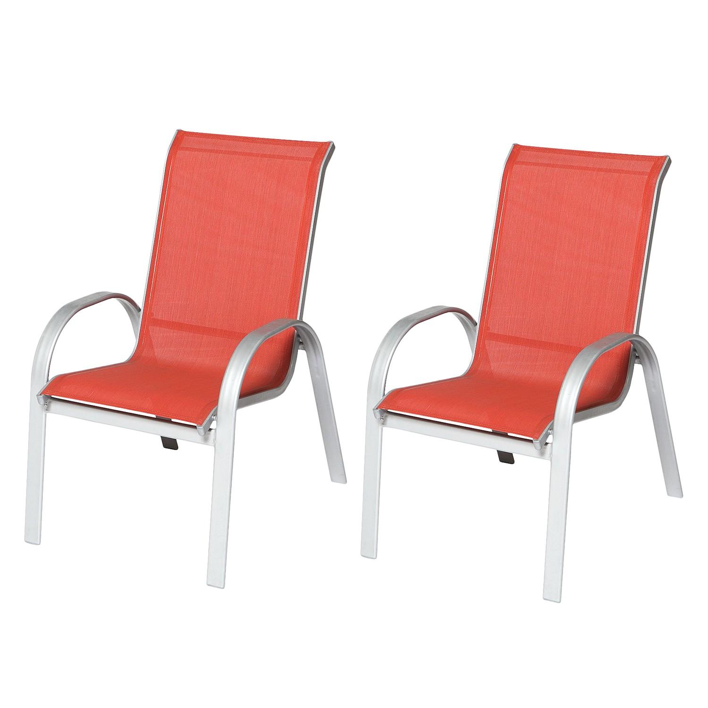 Stapelsessel Amalfi II (2er-Set) - Aluminium / Textilene, Merxx bei Home24 - Gartenmöbel
