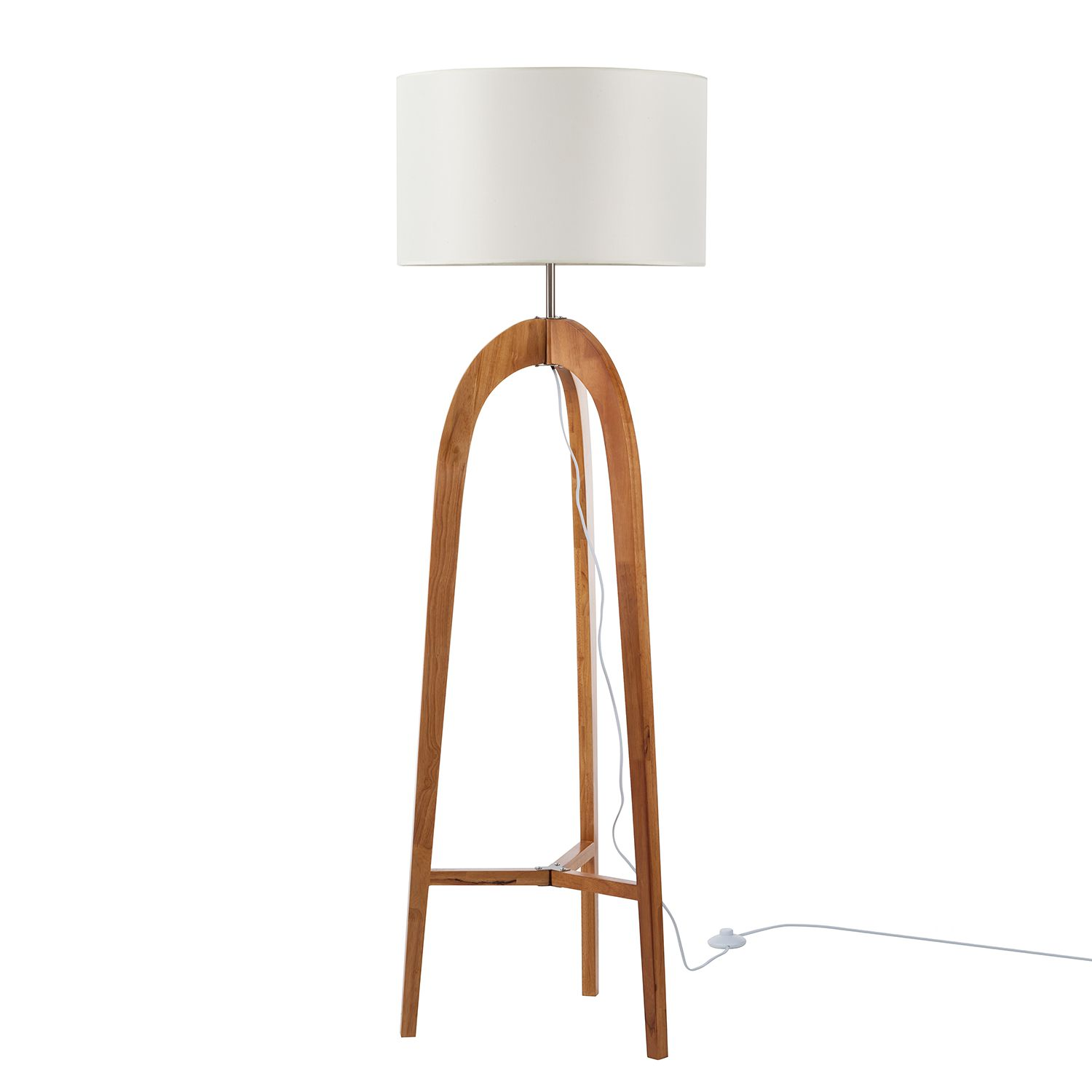 EEK A++, Lampadaire Varn - Coton / Pin massif - 1 ampoule - Beige / Épicéa, Loistaa