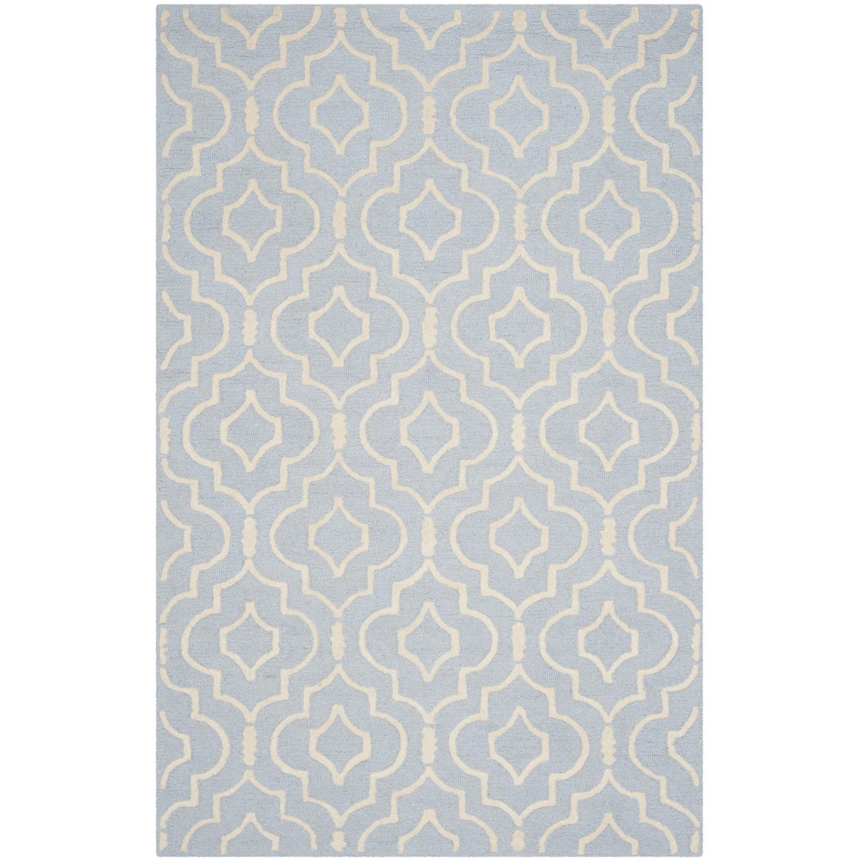 Teppich Ariel handgetuftet - Wolle - Matt Blaugrau - 152 x 243 cm, Safavieh