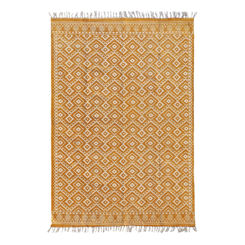 Teppich Ethno Pattern - Baumwollstoff - Safrangelb, Top Square