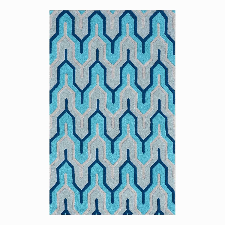Teppich Flagging I - Wolle - Blau, Morteens