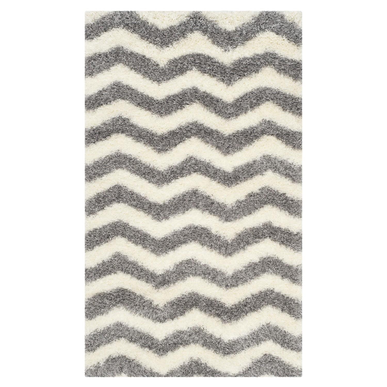 Safavieh Teppich Frances Grau/Weiß 90x150 cm (BxT) Modern Kunstfaser, Safavieh