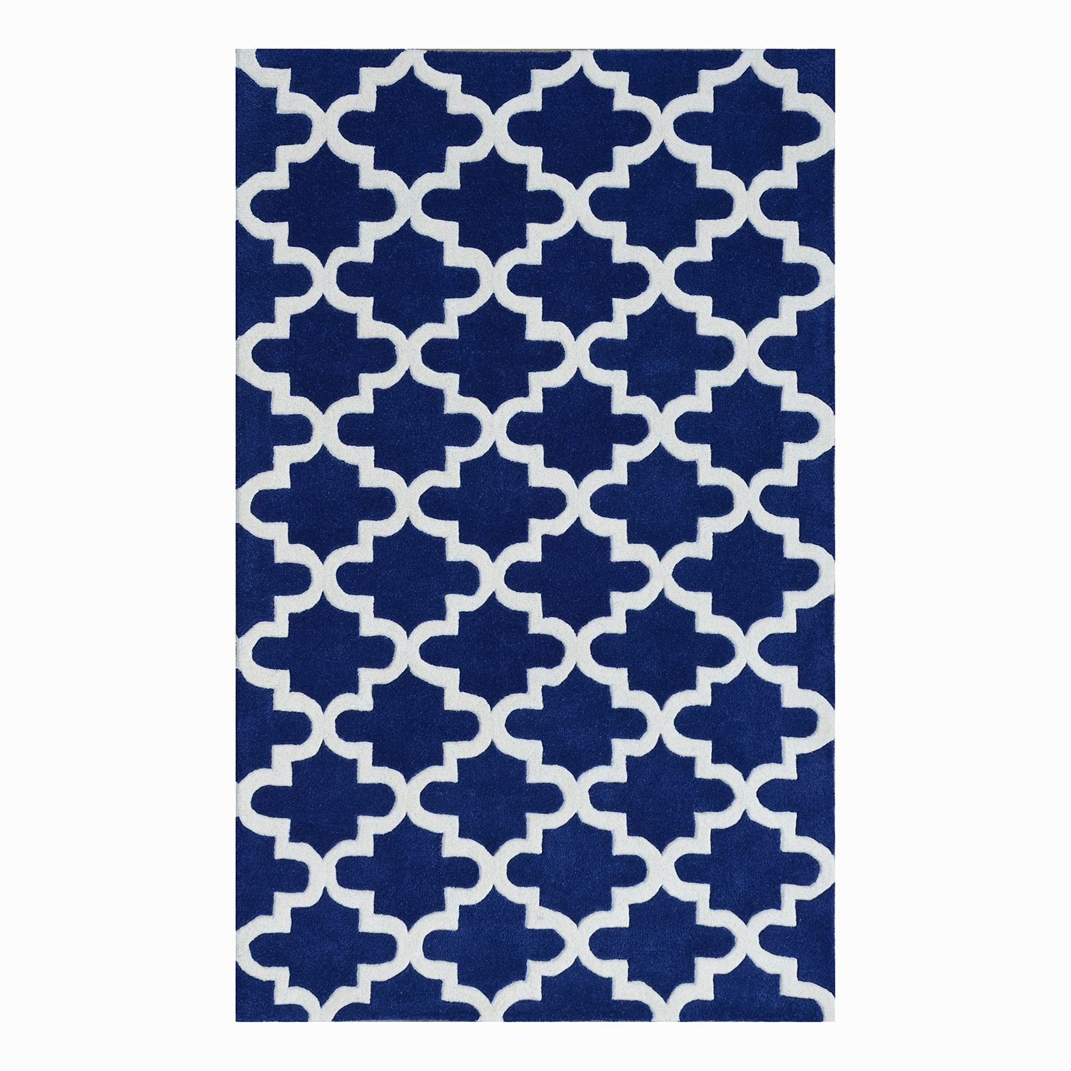 Teppich Graphico - Wolle - Royalblau / Weiß, Top Square