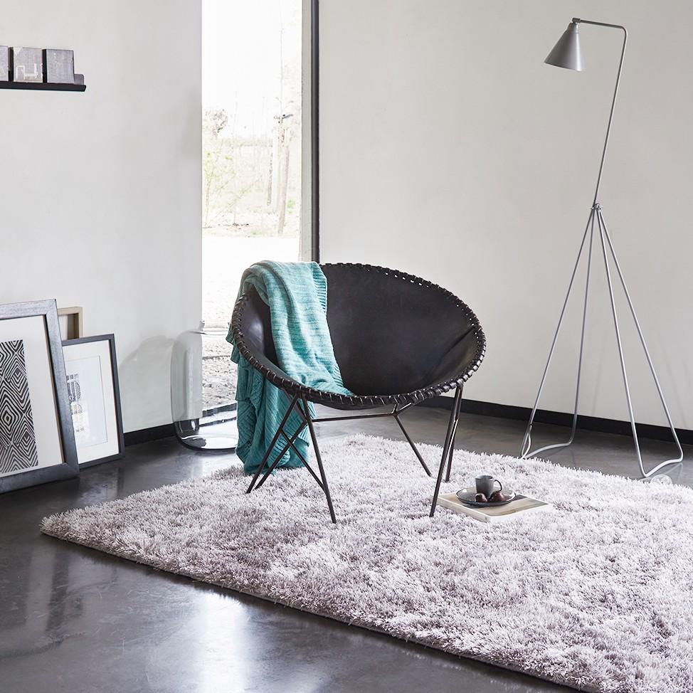 home24 Teppich New Glamour- Silbergrau