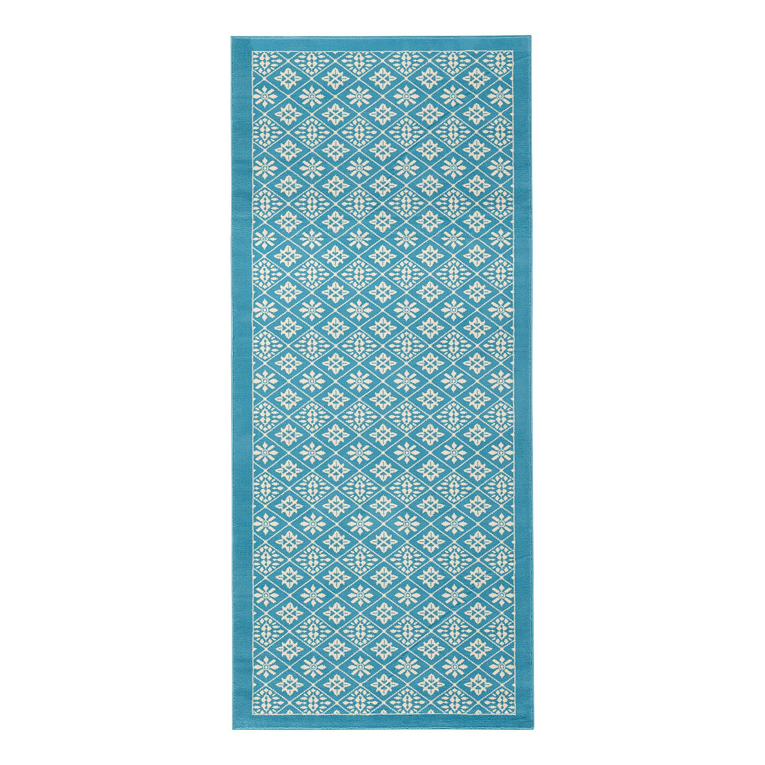 tapis tile fibres synth tiques bleu clair blanc 80 x 200 cm top square par top square. Black Bedroom Furniture Sets. Home Design Ideas