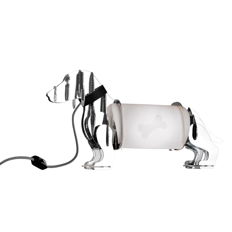 EEK A++, Lampe de table Eldog - Matériau synthétique Chrome, Sompex