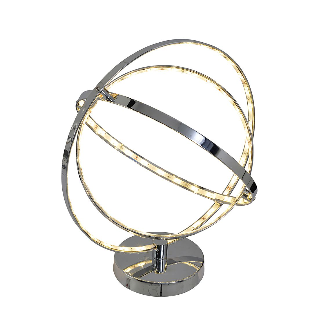 home24 Näve Tischleuchte LED Modern Chrom Metall 87-flammig 31x39x35 cm (BxHxT)