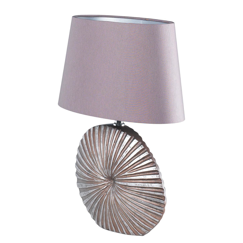 EEK A++, Tischleuchte Shine-Shell - Webstoff / Kunstharz - 1-flammig - 16 - Mauve / Chrom, Fischer Leuchten