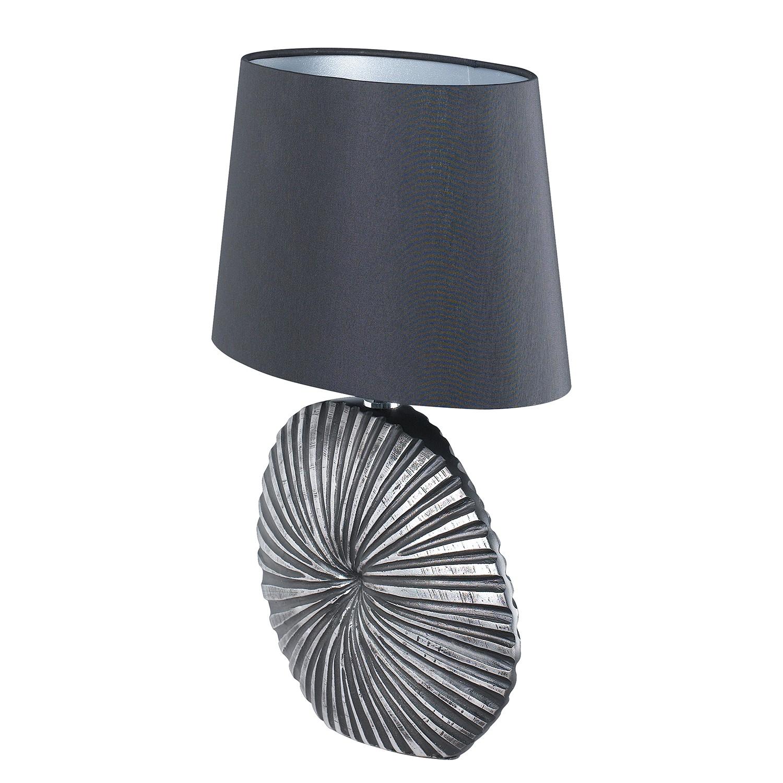 EEK A++, Lampe de table Shine-Shell - Tissu / Résine synthétique - 1 ampoule - 16 - Noir / Argenté, Fischer Leuchten