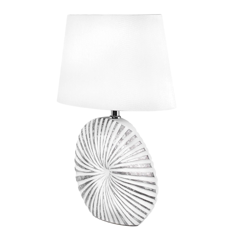 EEK A++, Tischleuchte Shine-Shell - Webstoff / Kunstharz - 1-flammig - 16 - Weiß / Silber, Fischer Leuchten