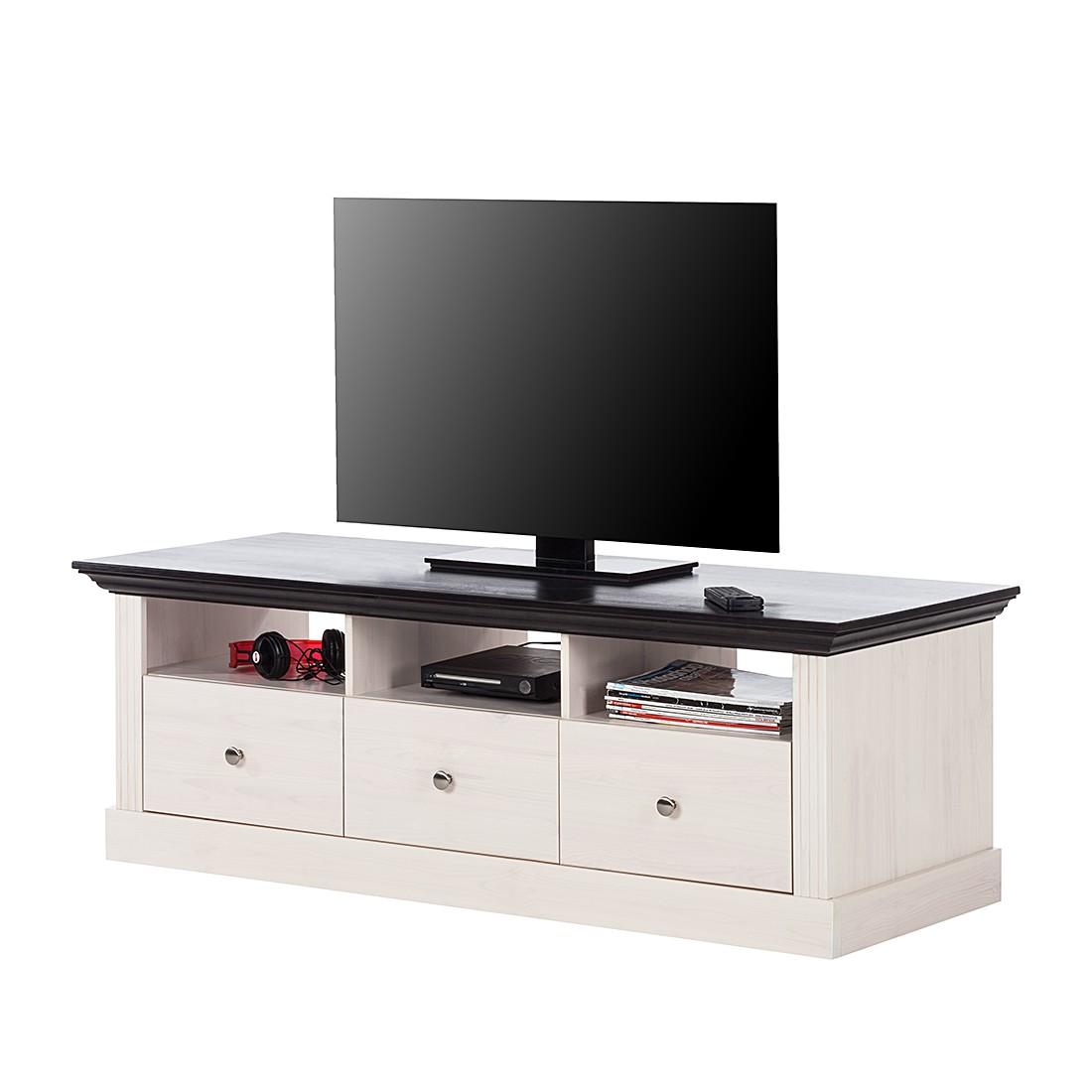 Mobile TV Lyngby - Legno massello di pino - Bianco / wengé, Maison Belfort