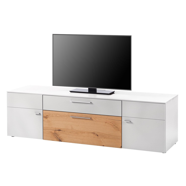 Meuble TV Anzio I - Mat blanc / Chêne de poutre, Netfurn by GWINNER