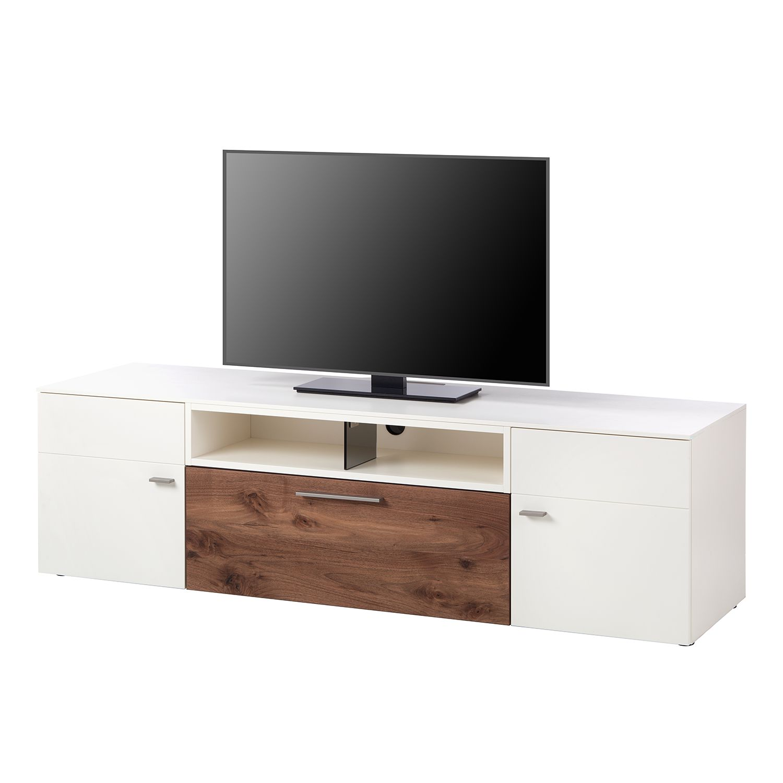 Meuble TV Anzio II - Mat blanc / Noyer ramageux, Netfurn by GWINNER