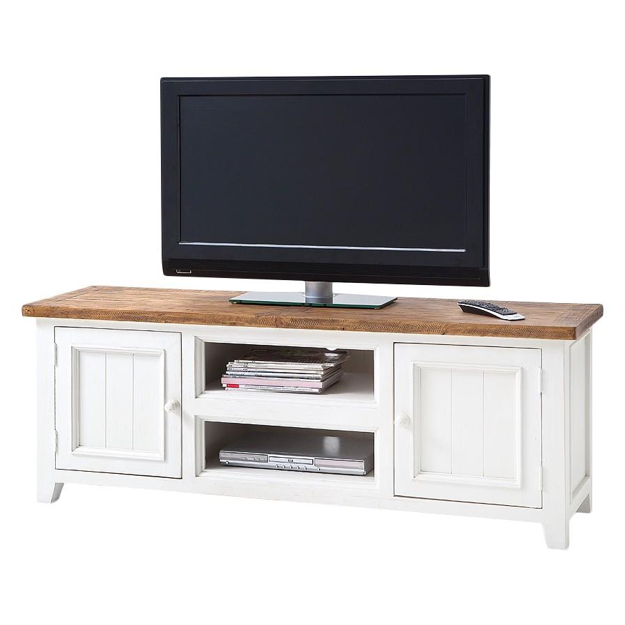 TV-Lowboard Balignton - Kiefer massiv - Weiß, Maison Belfort