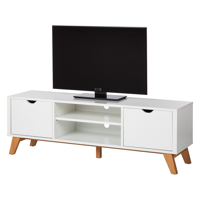 Meuble TV Brekille - Blanc / Chêne, Morteens