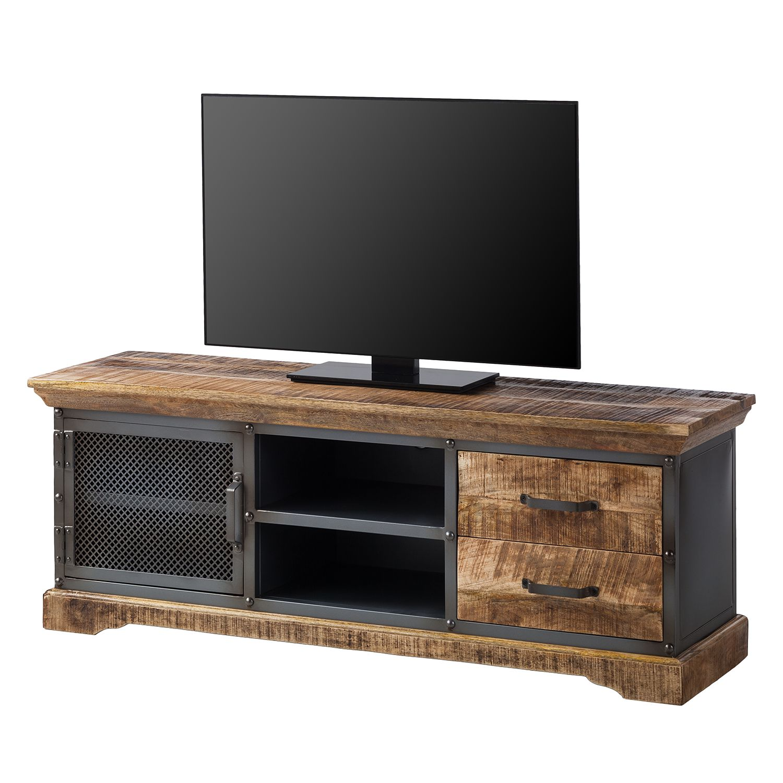 Meuble TV Hunter - Manguier massif / Métal - Manguier / Gris bleu, ars manufacti