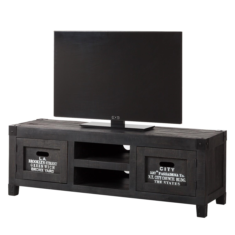 Meuble TV Keyport II - Manguier massif - Gris cendres / Noir, ars manufacti