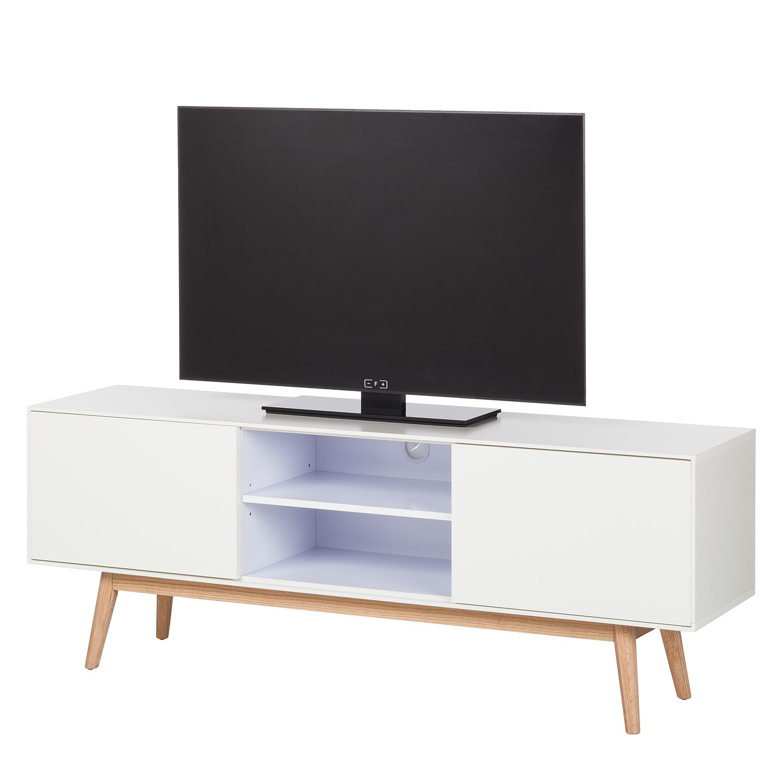 TV-Lowboard Lindholm - Eiche teilmassiv - Weiß / Eiche