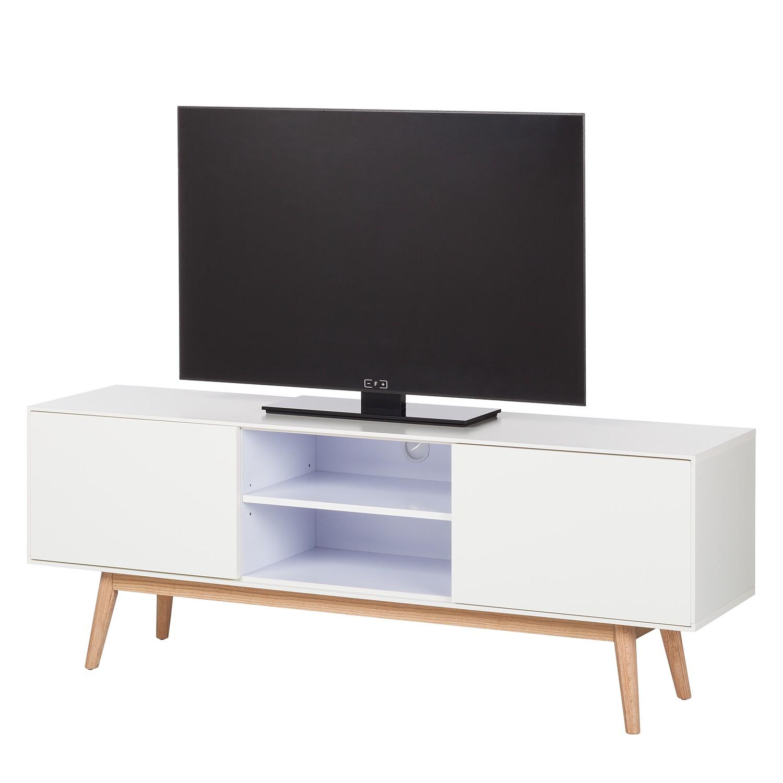 Image of Mobile TV Lindholm - legno lamellare di quercia - bianco opaco / quercia - Bianco / Quercia, Morteens