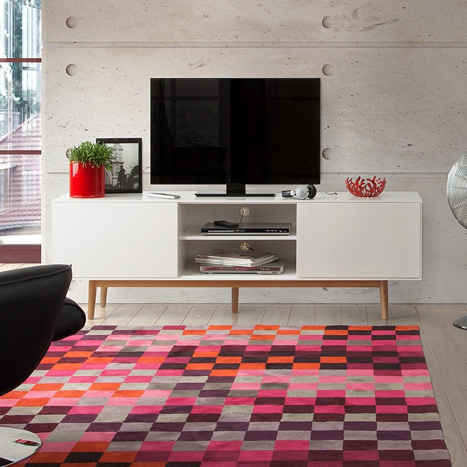 Tv Lowboard Lindholm Weiss Dekor Eiche Massiv Home24