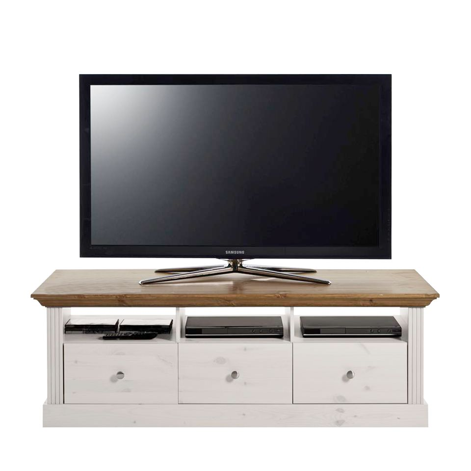 TV-Lowboard Lyngby - Kiefer massiv - Weiß / Laugenfarbig, Maison Belfort