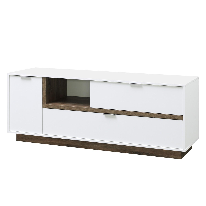 Meuble TV My Ell I - Blanc / Imitation chêne de Stirling, Cs Schmal