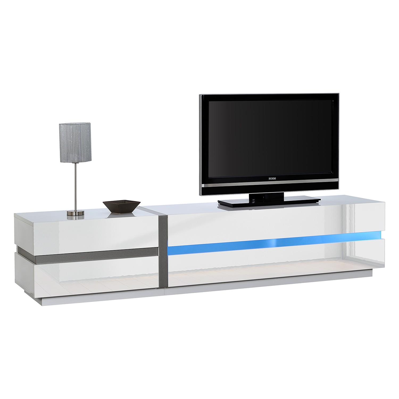 EEK A+, Meuble TV Sacile (avec éclairage) - Blanc brillant - 220 cm, Sciae