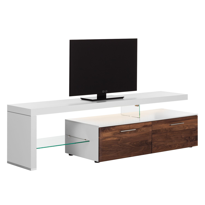 EEK A+, Meuble TV Solano I - Avec éclairage - Noix / Blanc - Avec meuble TV à gauche, Netfurn by GWINNER