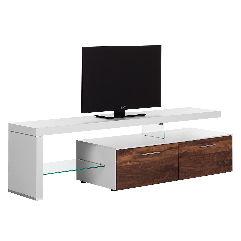 Meuble TV Solano I - Sans éclairage - Noix / Blanc - Avec meuble TV à gauche, Netfurn by GWINNER