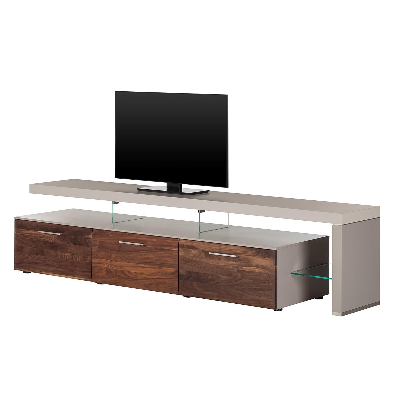 TV-Lowboard Solano II - Nussbaum / Platingrau - Mit Beleuchtung