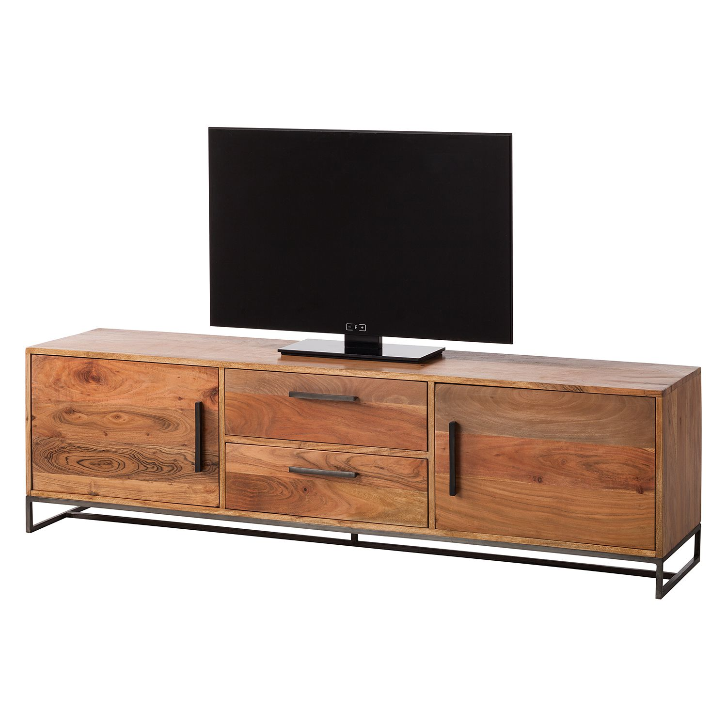 Meuble TV Woodson III - Acacia massif / Fer - Acacia Marron clair, ars manufacti