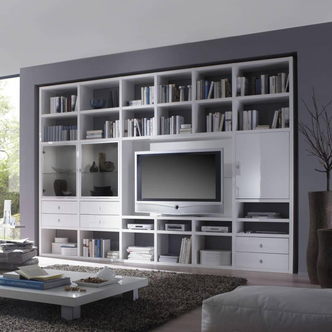 TV-Wand Empire - Hochglanz Weiß - Ohne Beleuchtung