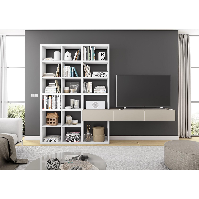 home24 TV-Wand Emporior III | Wohnzimmer > TV-HiFi-Möbel > TV-Wände | Beige | loftscape