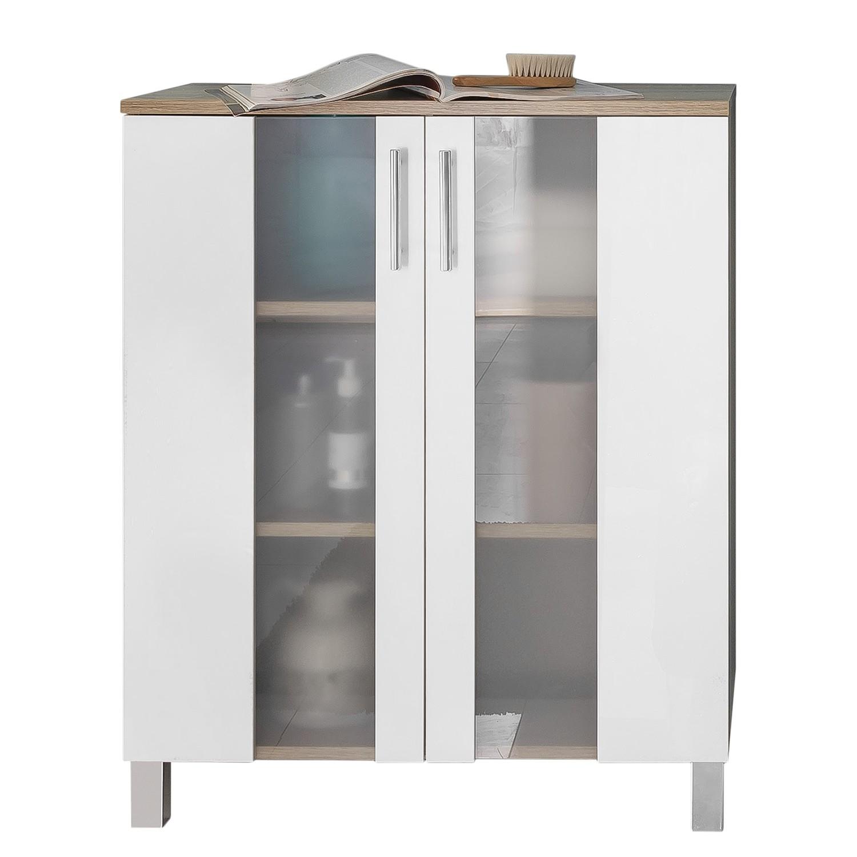 Unterschrank Porto - Weiß / Eiche Sägerau Dekor - 65 cm, Trendteam
