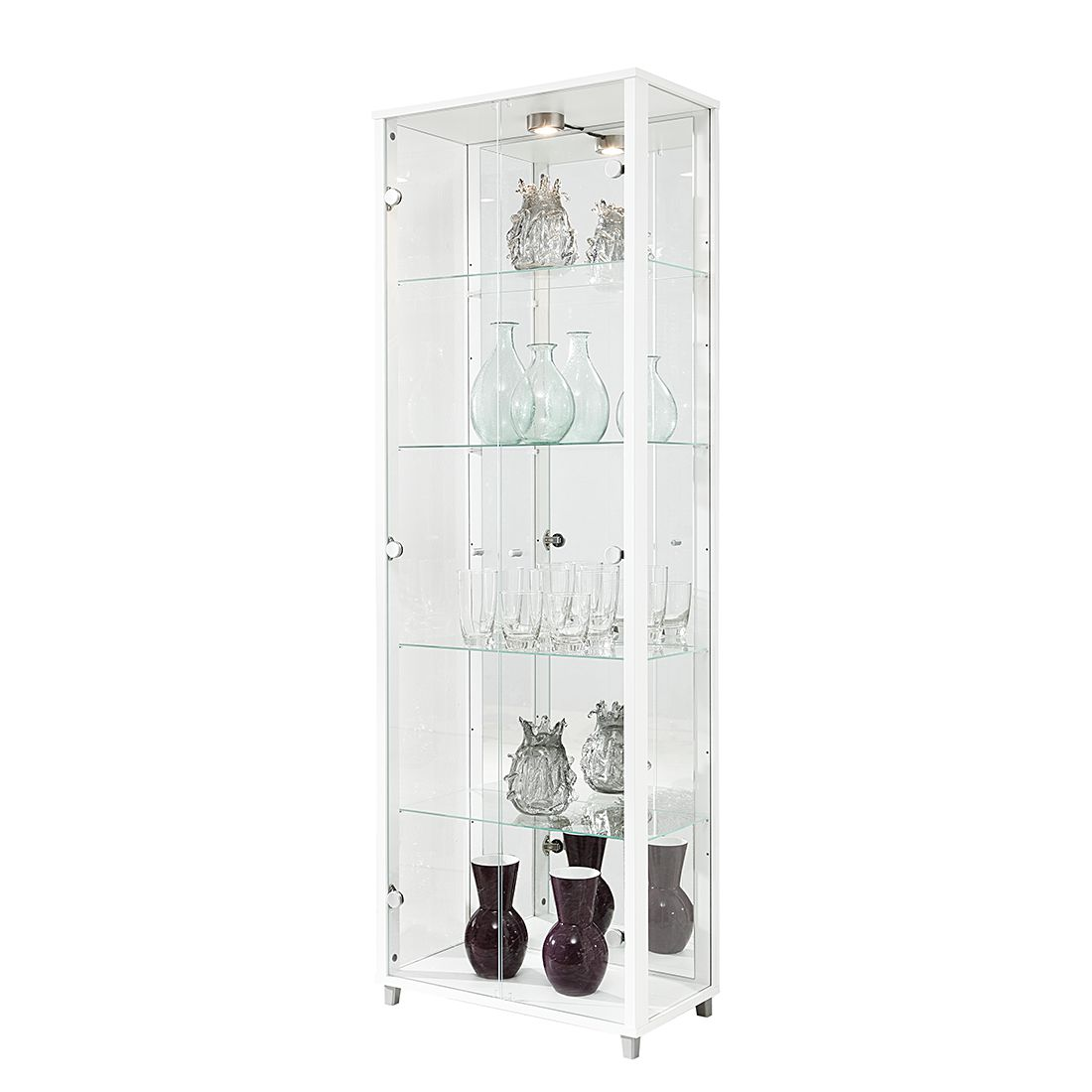 EEK B, Armoire vitrine Exhibit (éclairage inclus) - Blanc - 5 - Avec éclairage, mooved