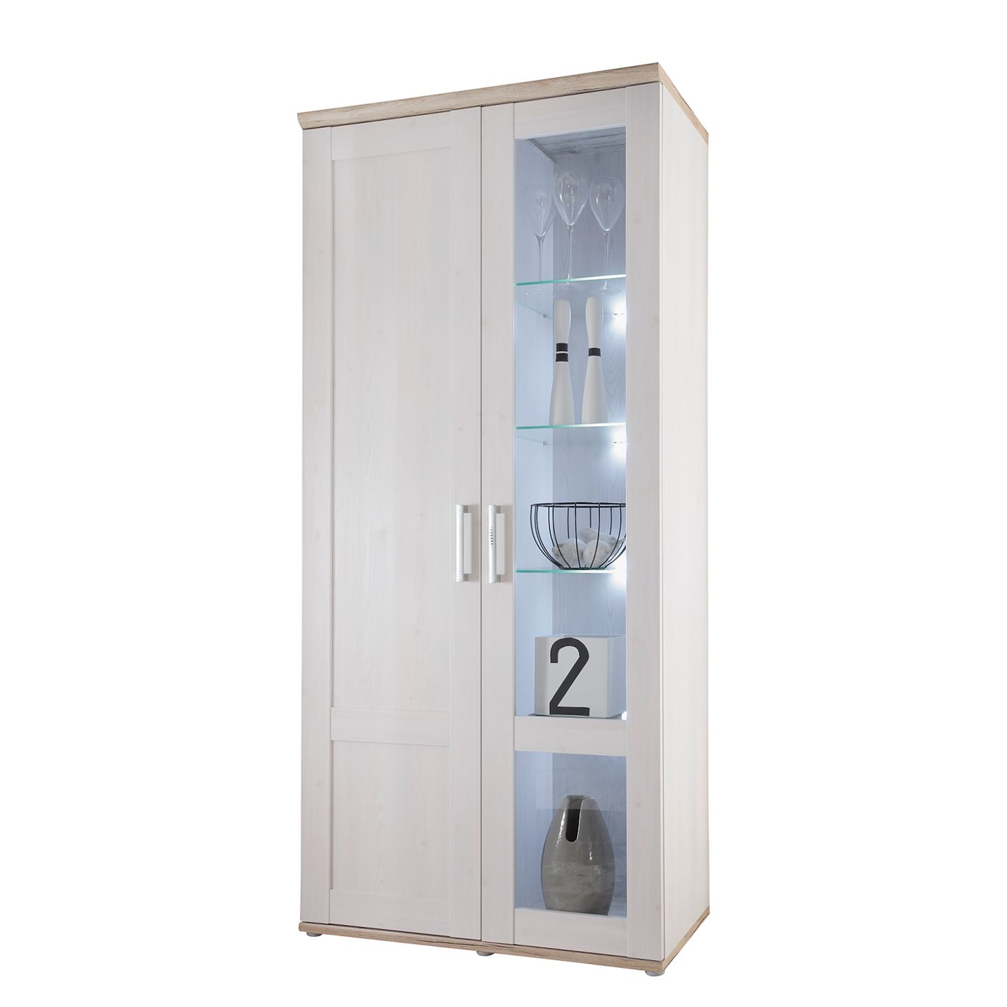 EEK A+, Armoire vitrine Halsoy (avec éclairage) - Imitation mélèze de Sibiu / Imitation chêne clair de Sanremo, Maison Belfort
