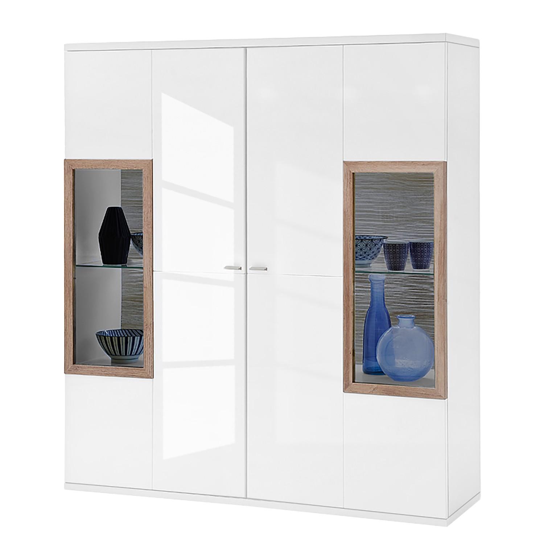 Armoire vitrine Ledigos I - Blanc brillant / Blanc, mooved