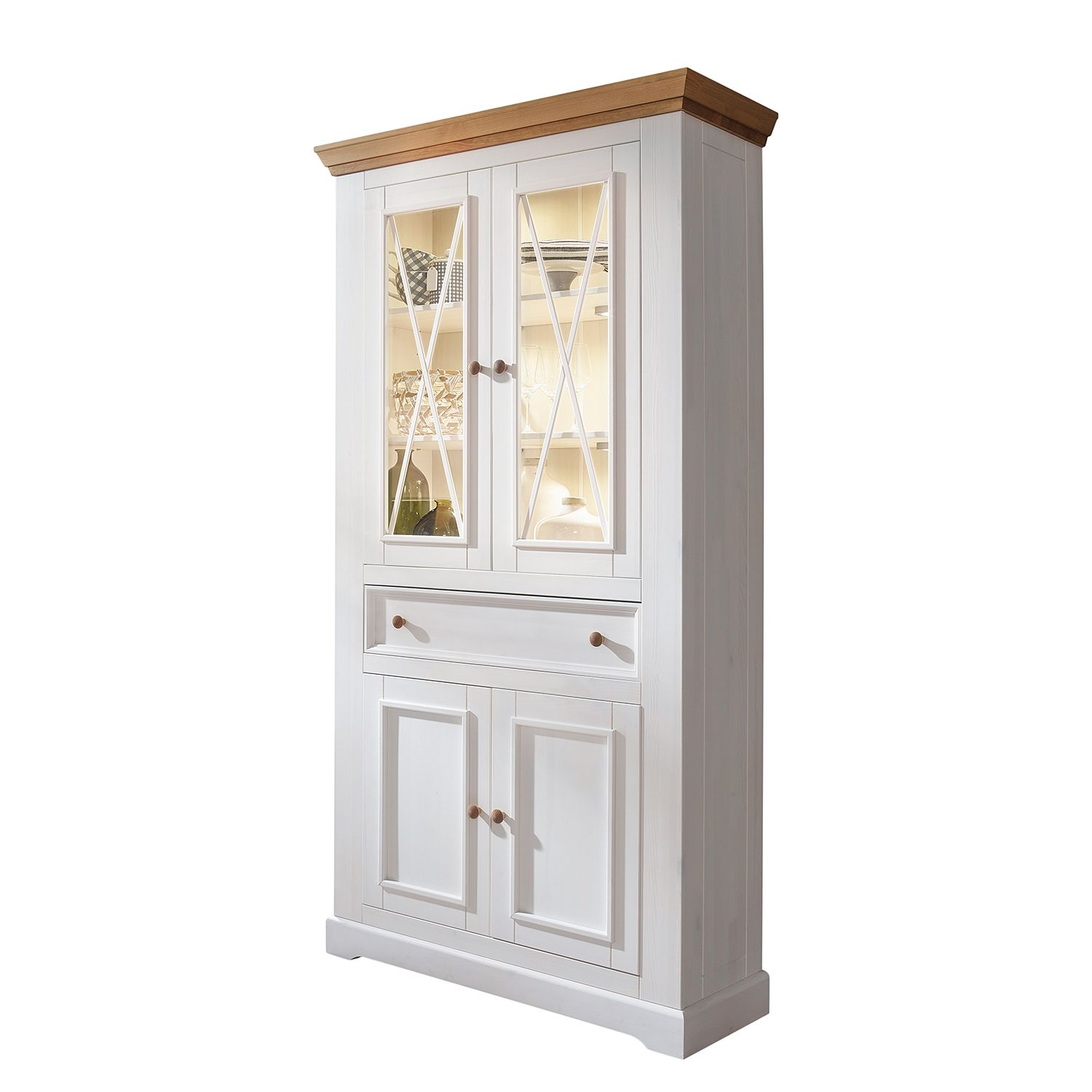 armoire vitrine ummanz pin massif pin blanc pin miel maison belfort previtech. Black Bedroom Furniture Sets. Home Design Ideas