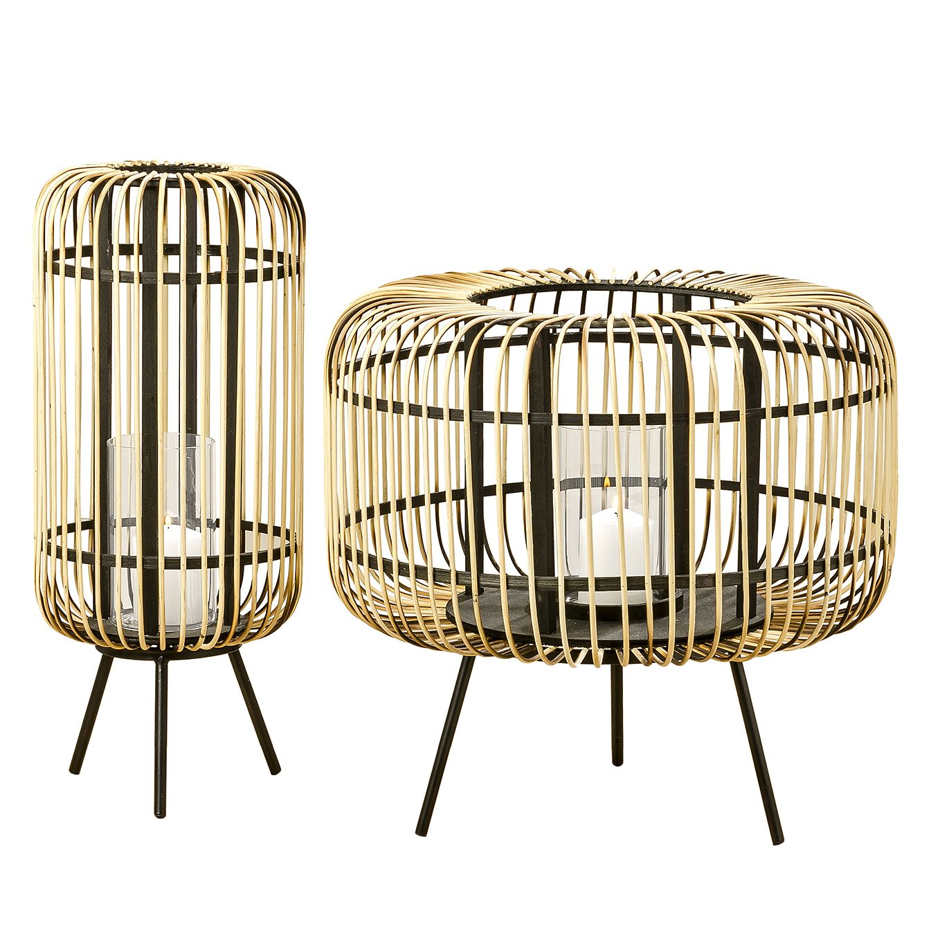 """*NEU*: Windlicht """"Mio"""" aus Bambus, braun/schwarz, 2er-Set"""
