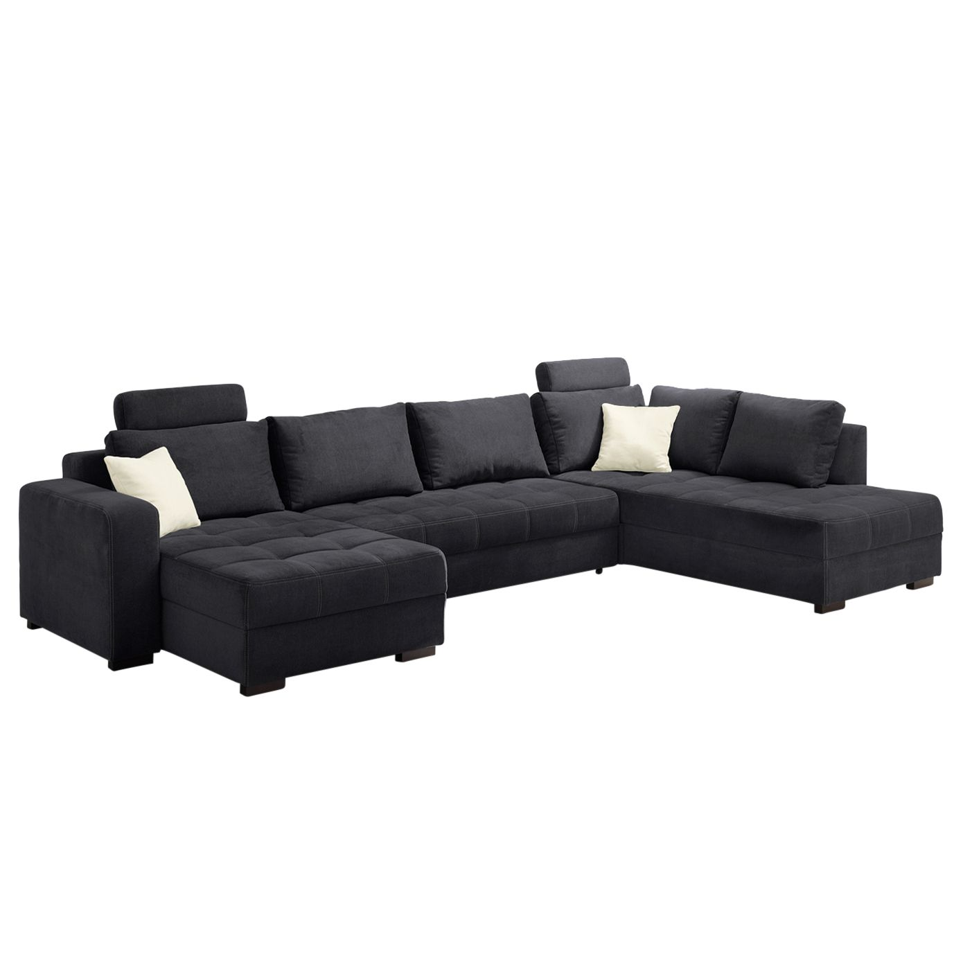 goedkoop Zithoek Antego met slaapfunctie velours ottomane longchair aan beide zijden monteerbaar Zwart Home Design