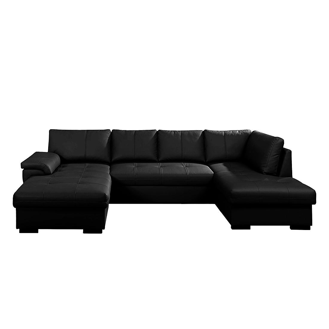 goedkoop Hoekbank Cuenca met slaapfunctie zwart kunstleer stof grote en kleine longchair links rechts monteerbaar Nuovoform